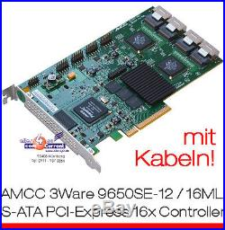 16x SATA RAID PCIe CONTROLLER LSI 3WARE 9650SE-12/16ML + KABEL HDDs BIS 4TB HDD