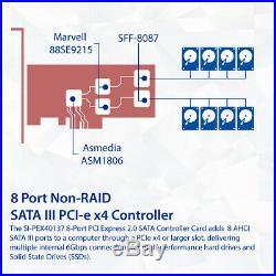 8 Port Non-RAID SATA III PCI-e x4 Card Dual 9215 Chipset / Support ZFS Linus