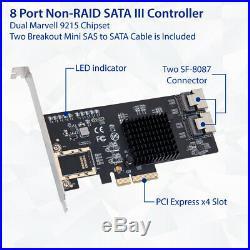8 Port SATA 6Gb/s Non Raid PCi-e x4 Controller ZFS FreeNAS unRAID Ship from US