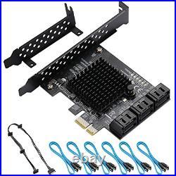 BEYIMEI 6 Port SATA PCIE Card, PCIe to SATA No Raid Controller Expansion Card, 6