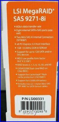 NEW LSI MegaRAID SAS 9271-8i 6Gb/s 8 Port SATA+SAS ROC RAID Controller LSI00331